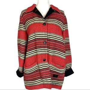 Ralph Lauren Safari Outfitters Striped Jacket In Red Cream Black Size Large
